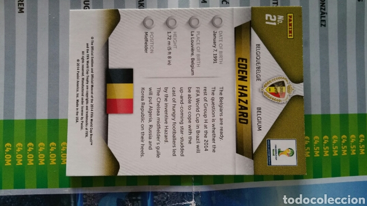 Cromos de Fútbol: 21 Edén Hazard prizm fifa World cup brasil 2014 - Foto 2 - 234902665