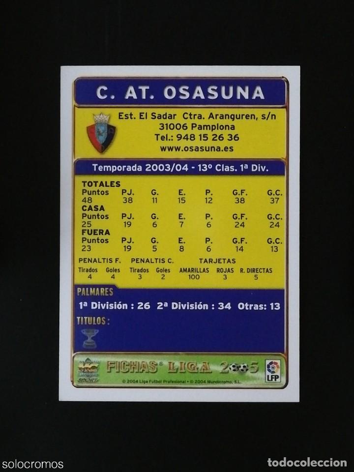 Cromos de Fútbol: #325 ESCUDO OSASUNA 133 AS LAS FICHAS DE LA LIGA 2005 VERSION AS MUNDICROMO 05 - Foto 2 - 236856375