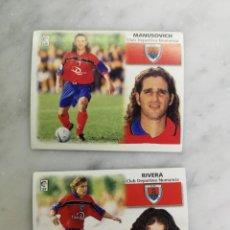Cromos de Fútbol: RIVERA Y MANUSOVICH, COLOCAS CD NUMANCIA, EDITORIAL ESTE 99/00, SIN PEGAR. Lote 236938735
