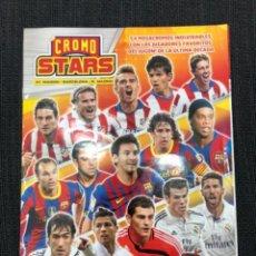 Cromos de Fútbol: JUGON CROMOSTARS ALBUM VACIO CON 3 LAMINAS FCBARCELONA REAL MADRID Y ATLETICO DE MADRID. Lote 243256215
