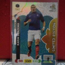 Cromos de Fútbol: BENZEMA LIMITED EDITION FRANCIA FRANCE EUROCOPA EURO ADRENALYN XL 2012 CARDS PANINI 12. Lote 245271615
