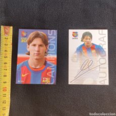 Cromos de Fútbol: PACK DE DOS CARTAS MESSI MEGACRACKS BARÇA CAMPIÓ 2004 2005. Lote 253984375
