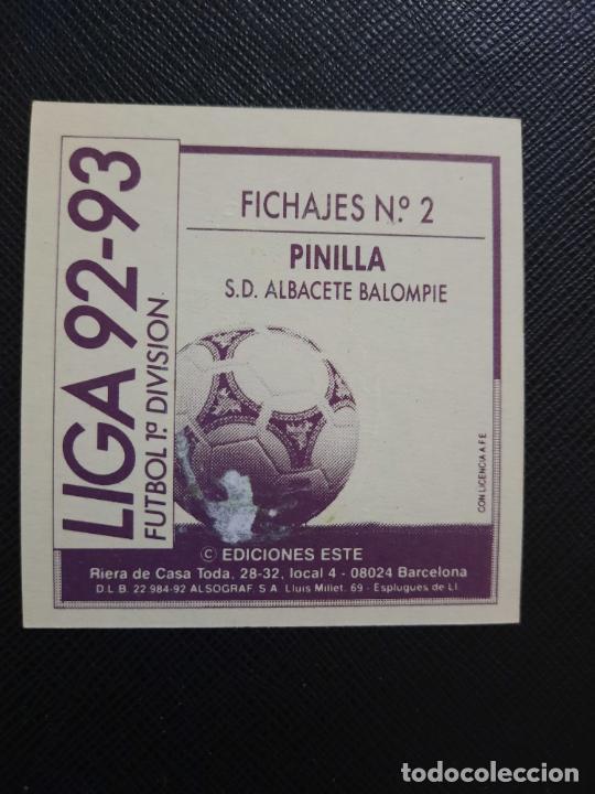 Cromos de Fútbol: PINILLA ALBACETE ESTE 1992 1993 CROMO LIGA FUTBOL 92 93 - A31 - DESPEGADO - PG109 FICHAJE 2 - Foto 2 - 254009895