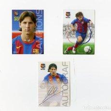 Cromos de Fútbol: TRADING CARD TRILOGÍA LIONEL MESSI COLECCIÓN PANINI BARÇA CAMPIÓ 2004 - 2005 EN PERFECTO ESTADO. Lote 254807445