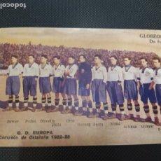 Cromos de Fútbol: CROMO TARJETA POSTAL EUROPA CAMPEON DEE CATALUÑA 1922 1923 PUBLICIDAD URODONAL. Lote 261582685
