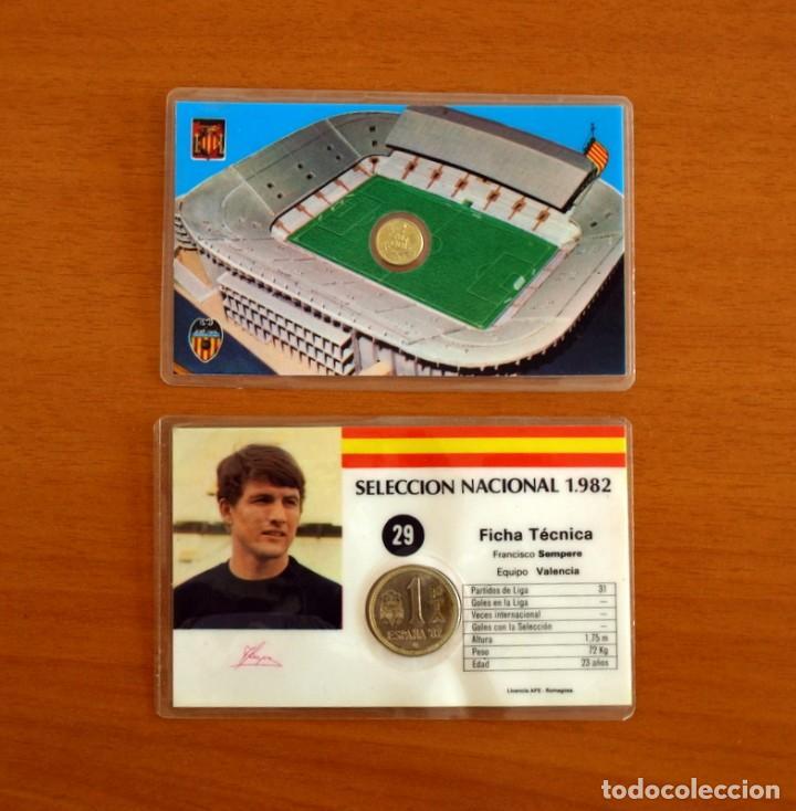 SELECCIÓN NACIONAL 1982, ESPAÑA 82 - Nº 29, SEMPERE Y CAMPO DEL VALENCIA - 2 TARJETAS, TAMAÑO 11X7 (Coleccionismo Deportivo - Álbumes y Cromos de Deportes - Cromos de Fútbol)