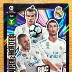 Cartes à collectionner de Football: CROMO CARD 438 REAL MADRID SUPER HEROES ADRENALYN 17-18 CRISTIANO RONALDO, BENZEMA Y BALE BBC. Lote 266455153