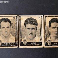 Cromos de Fútbol: LOTE DE 3 CROMOS DE FUTBOL DEL VALENCIA C.F. (UNO DE ELLOS DESPEGADO). Lote 267573189