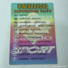 Cromos de Fútbol: CROMO - N° 424 INDICE SUPERSTARS 96/97. LAS FICHAS DE LA LIGA 96-97 - MUNDICROMO - CARTA. Lote 269385683