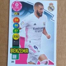 Cromos de Fútbol: CROMO Nº 251 BENZEMÁ REAL MADRID ADRENALYN XL 2020-2021 DE PANINI. NUEVO DE SOBRE.. Lote 288230198