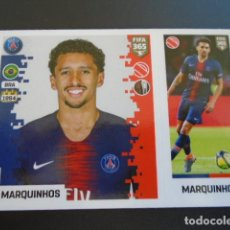 Cromos de Fútbol: 124 MARQUINHOS PARIS SAINT-GERMAIN VERSION BLUE BACK STICKER PANINI FIFA 365 18 19 2018 2019. Lote 288481893