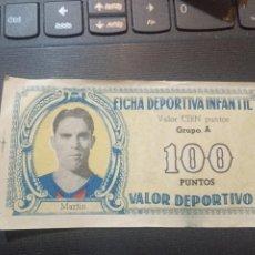 Cromos de Fútbol: MARTIN BARCELONA FICHA DEPORTIVA INFANTIL 1943 1944 LIGA CROMO FUTBOL 43 44 - 100 PUNTOS. Lote 290103453