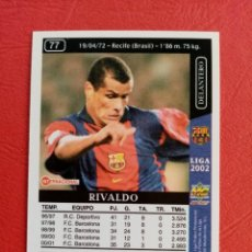 Cromos de Fútbol: Nº 77 RIVALDO, F.C. BARCELONA, FICHAS DE LA LIGA 2002, 2001 2002, 01 02 MUNDICROMO. Lote 290104123