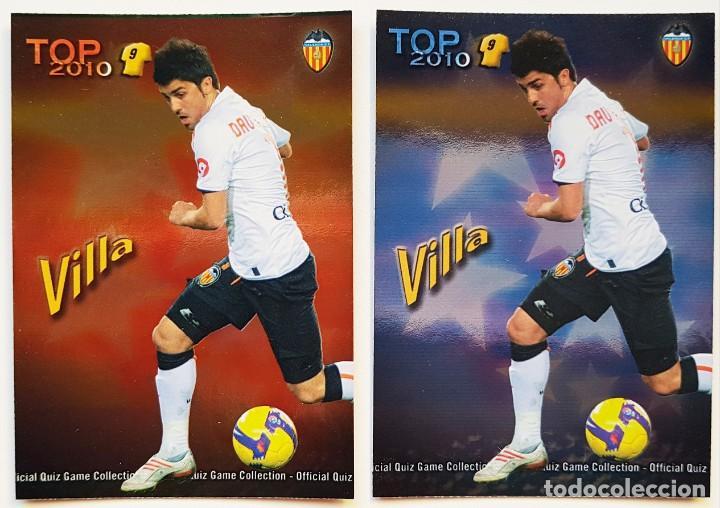 2 CROMOS DAVID VILLA - VALENCIA - TOP 2010 MUNDICROMO QUIZGAME 2009 2010 09 10 - NUEVOS (Coleccionismo Deportivo - Álbumes y Cromos de Deportes - Cromos de Fútbol)