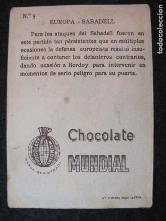 Cromos de Fútbol: EUROPA VS SABADELL-BORDOY-CROMO DE FUTBOL-CHOCOLATE MUNDIAL-VER FOTOS-(84.965) - Foto 2 - 293668613