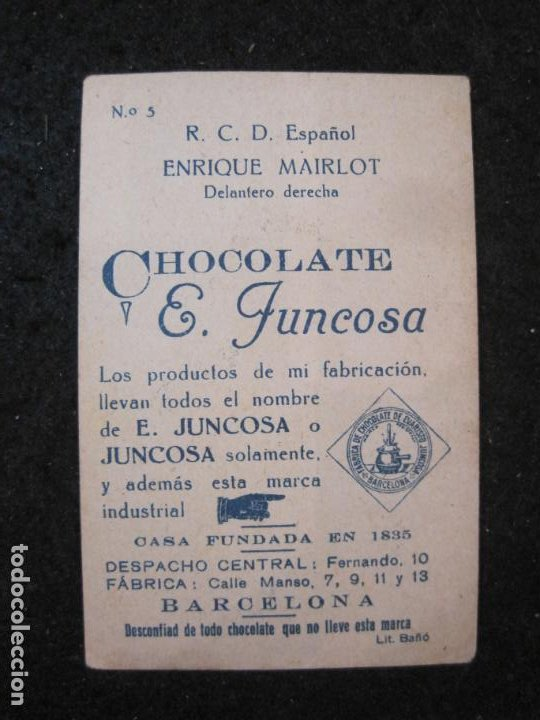 Cromos de Fútbol: ENRIQUE MAIRLOT-RCD ESPAÑOL-CROMO DE FUTBOL-CHOCOLATE JUNCOSA-VER FOTOS-(84.968) - Foto 3 - 293668833