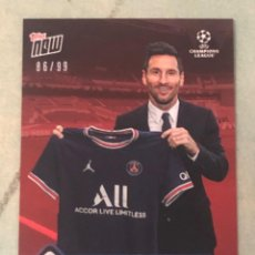 Cromos de Fútbol: TOPPS NOW LEO MESSI PSG PRESENTACION TRADING CARD RED PARALLEL NUMERADA DE 99. Lote 293795703