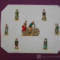 Coleccionismo Cromos troquelados antiguos: HOJA CON CROMOS TROQUELADOS. BICICLETA.. Lote 11839375