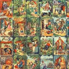 Coleccionismo Cromos troquelados antiguos: LAMINA CON 32 CROMOS TROQUELADOS CON ESCENAS DE CUENTOS INFANTILES (PUB.DE CHICOREE MOKTA WILLIOT). Lote 108877796