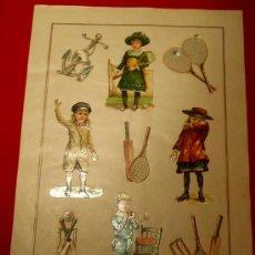 Coleccionismo Cromos troquelados antiguos: PRECIOSA LAMINA DE CROMOS TROQUELADOS, TEMA NIÑOS TENIS Y OTROS, MUY ANTIGUOS , SIGLO XIX. Lote 24413032
