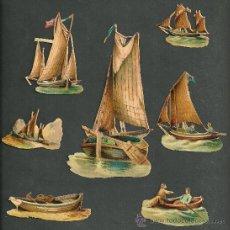 Coleccionismo Cromos troquelados antiguos: CROMOS TROQUELADOS VICTORIANOS SXIX 1890 TEMA BARCOS . Lote 18852274