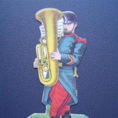 Coleccionismo Cromos troquelados antiguos: CROMO INFANTERIA - MUSICA (TRAJE CAMPAÑA) . CHOCOLATE JUNCOSA - TROQUELADO; SE PONE DE PIE . Lote 27591809