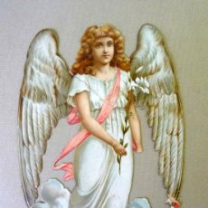 Coleccionismo Cromos troquelados antiguos: CROMO TROQUELADO, PRINCIPIOS 1900, PROBABLEMENTE INGLES, ANGEL, NAVIDEÑO. Lote 23237556