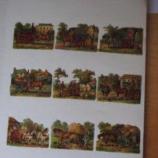 Coleccionismo Cromos troquelados antiguos: BONITA COLECCION DE 12 CROMOS TROQUELADOS FINALES DEL XIX. TRATA SOBRE LABORES EN EL CAMPO. MUY RARO. Lote 29553796