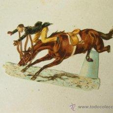Coleccionismo Cromos troquelados antiguos: ANTIGUO CROMO TROQUELADO DE UN CABALLO SALTANDO - HIPICA. Lote 31377988