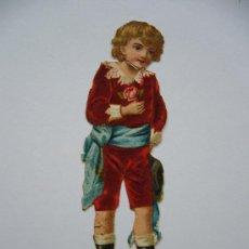 Coleccionismo Cromos troquelados antiguos: CROMO TROQUELADO EN RELIEVE ANTIGUO. NIÑO. CHOCOLATES Y CAFÉS. COMPAÑIA COLONIAL. MADRID.. Lote 32687259
