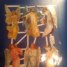 Coleccionismo Cromos troquelados antiguos: CROMO DE PICAR O TROQUELADO ANGELES CON PURPURINA. Lote 33044433