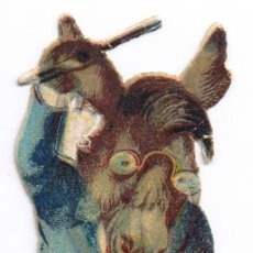 Coleccionismo Cromos troquelados antiguos: CROMO TROQUELADO - BURRO VIOLINISTA - MIDE 12 X 4 CMS. Lote 34234497
