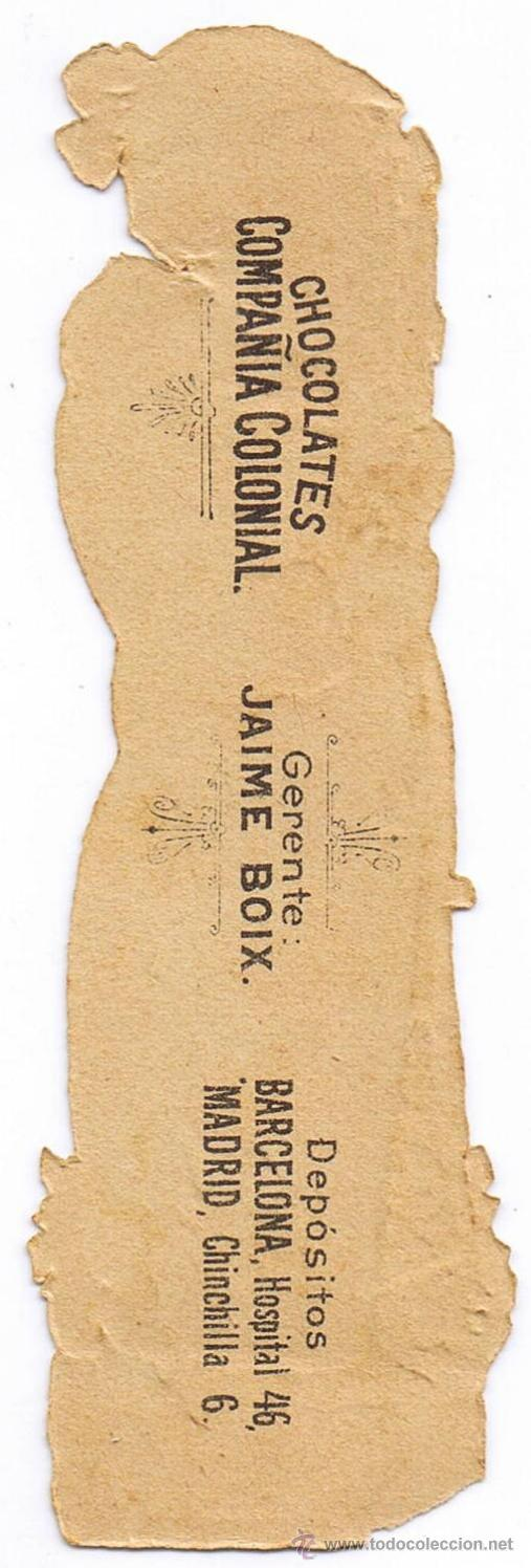 Coleccionismo Cromos troquelados antiguos: CROMO TROQUELADO - JOVEN - MIDE 12 x 4 CMS - FOTO ADICIONAL - CHOCOLATE COLONIAL - BOIX - Foto 2 - 35982046