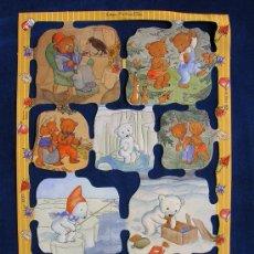 Coleccionismo Cromos troquelados antiguos: LAMINA CROMOS TROQUELADOS MLP- 1937. IMAGENES DE OSITOS POR I. BOHATTA. RELIEVE.. Lote 243911330