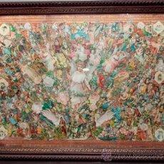 Coleccionismo Cromos troquelados antiguos: MARCO CON CROMOS DEL S.XIX ENMARCADOS, 111 CM. X 83 CM. .. Lote 34873218