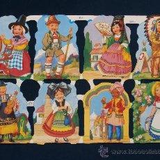 Coleccionismo Cromos troquelados antiguos: LAMINA CROMOS TROQUELADOS MLP- 1311. NIÑOS VESTIDOS CON TRAJES TIPICOS.RELIEVE.. Lote 245720980