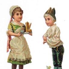 Coleccionismo Cromos troquelados antiguos: DOS CROMO TROQUELADO - PAREJA JÓVENES - MIDE 11'8 X 3 CMS - FOTO ADICIONAL - CHOCOLATE COLONIAL. Lote 35983838