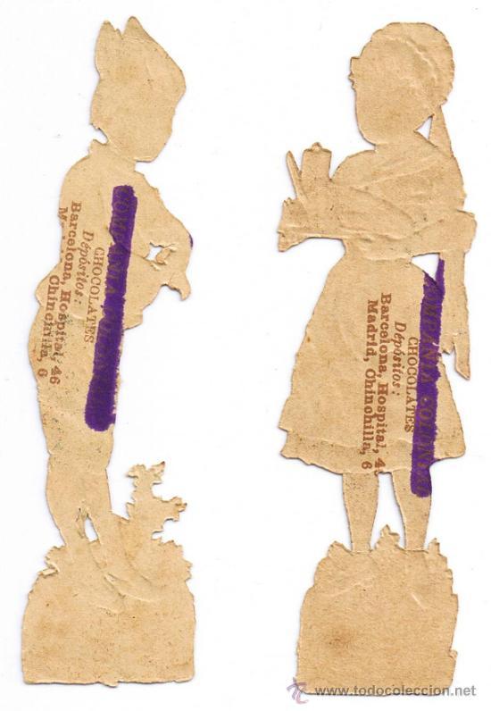 Coleccionismo Cromos troquelados antiguos: DOS CROMO TROQUELADO - PAREJA JÓVENES - MIDE 118 x 3 CMS - FOTO ADICIONAL - CHOCOLATE COLONIAL - Foto 2 - 35983838