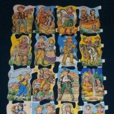 Coleccionismo Cromos troquelados antiguos: LAMINA CROMOS TROQUELADOS MLP- 1431. PURPURINA. NIÑOS Y NIÑAS DISFRAZADOS DE VAQUEROS.. Lote 143096748