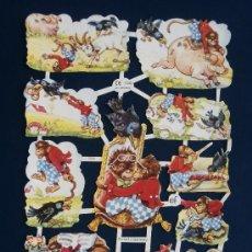 Coleccionismo Cromos troquelados antiguos: LAMINA CROMOS TROQUELADOS EF- 7049. MONOS JUGUETONES. EDICION LIMITADA. BRILLO.¡¡ OFERTA¡¡.. Lote 218638323