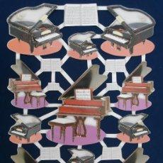 Coleccionismo Cromos troquelados antiguos: LAMINA CROMOS TROQUELADOS TBZ- 572533. HOLANDA. PIANOS.GRAN BRILLO Y RELIEVE.. Lote 37275808