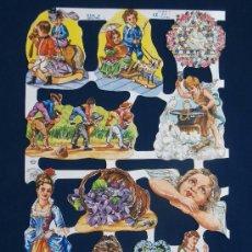 Coleccionismo Cromos troquelados antiguos: LAMINA CROMOS TROQUELADOS MLP- 1634.PURPURINA. SEÑORAS DE EPOCA Y NIÑOS. RELIEVE.. Lote 195517832