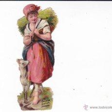 Coleccionismo Cromos troquelados antiguos: PASTORCILLA CON CABRA CHOCOLATE EVARISTO JUNCOSA BARCELONA. Lote 40749096