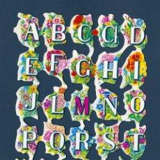 Coleccionismo Cromos troquelados antiguos: 2011R - LAMINA DE CROMOS TROQUELADOS – F.B. FHER Nº 25 (ABECEDARIO Y FLORES) 15X 11 CM. Lote 42581055