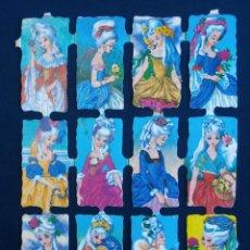 Coleccionismo Cromos troquelados antiguos: LAMINA CROMOS TROQUELADOS ESPAÑOLES FHER ( FB ),SEÑORITAS DE EPOCA 5. Lote 143096209