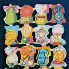 Coleccionismo Cromos troquelados antiguos: LAMINA CROMOS TROQUELADOS ESPAÑOLES FHER ( FB ),OBJETOS DIVERSOS. Lote 245721805