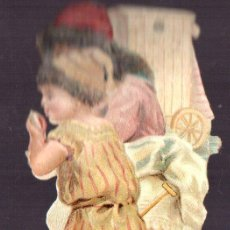 Coleccionismo Cromos troquelados antiguos: CROMO ANTIGUO SIGLO XIX TROQUELADO. NIÑOS EN LA PLAYA. Lote 44346220