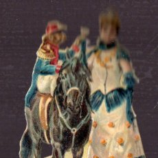 Coleccionismo Cromos troquelados antiguos: CROMO ANTIGUO SIGLO XIX TROQUELADO. CIRCO, DAMA CON CABALLO Y MONO. Lote 44346253