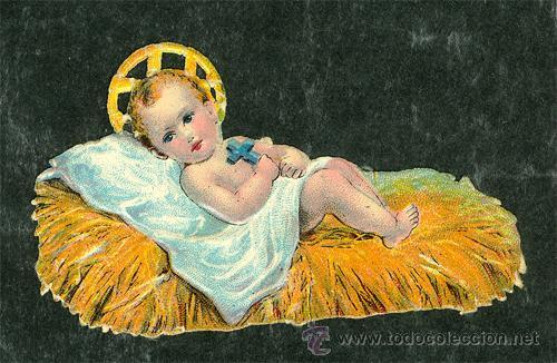 Fotos De El Pesebre De Jesus.Antiguo Cromo Troquelado Nino Jesus En Pesebre
