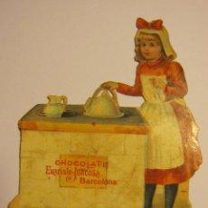 Coleccionismo Cromos troquelados antiguos: ANTIGUO CROMO TROQUELADO CHOCOLATE EVARISTO JUNCOSA. 9 X 7 CM. Lote 47371533